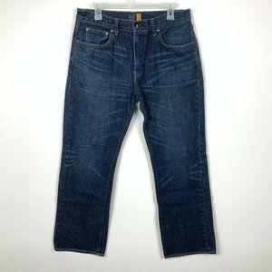 J Crew Mens 34/32 Boot Cut Jeans Dark Wash